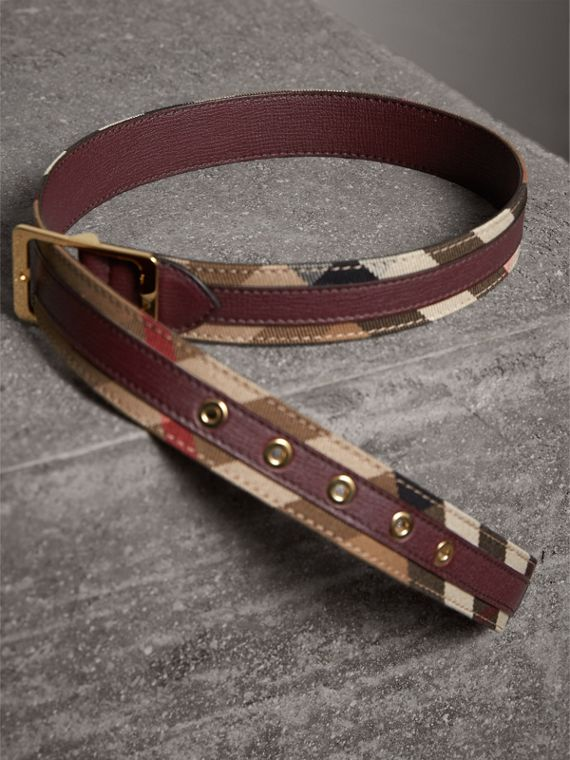 House Check and Grainy Leather Belt in Camel/mahogany Red - Women | Burberry Canada - cell image 2