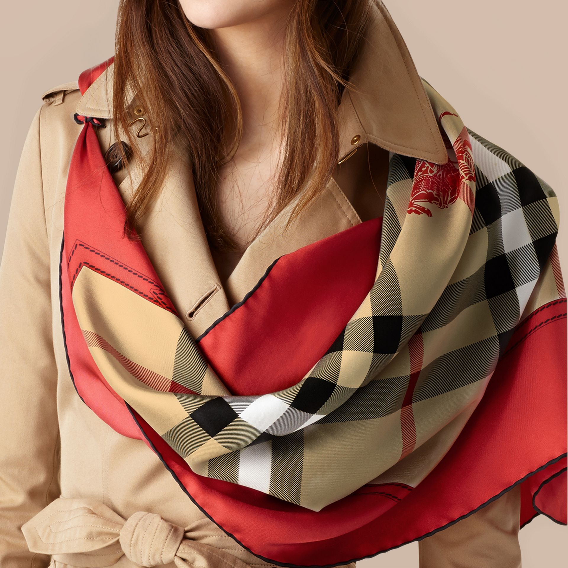Bright military red Horseferry Check Silk Square – Medium Bright Military Red - gallery image 3