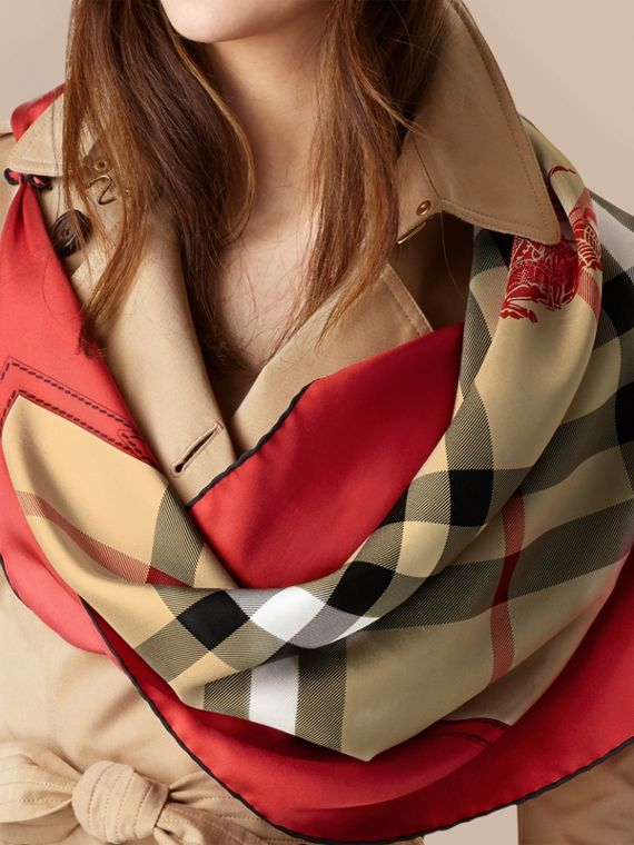 Bright military red Horseferry Check Silk Square – Medium Bright Military Red - cell image 2