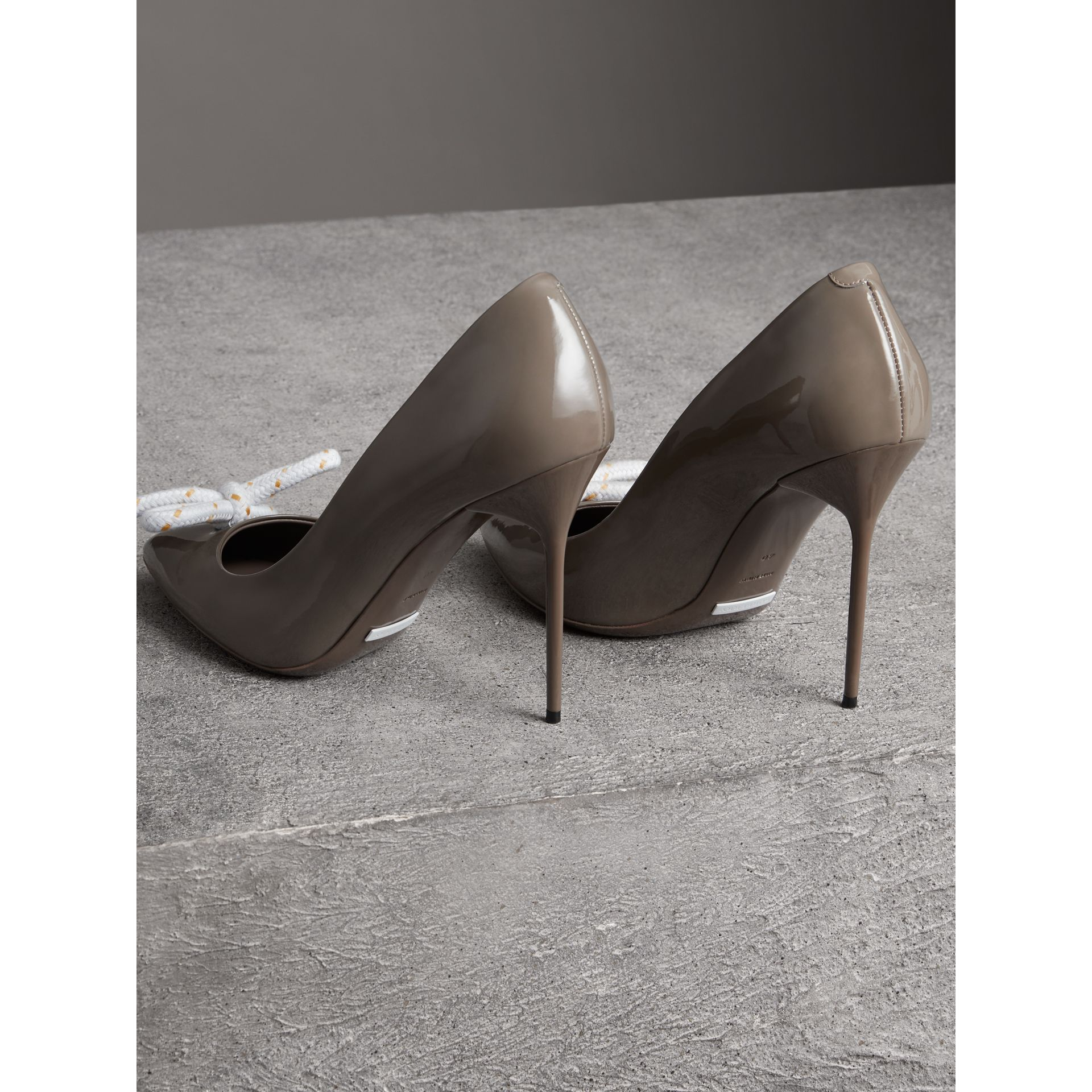 The Patent Leather Rope Stiletto in Taupe Grey - Women | Burberry - gallery image 3