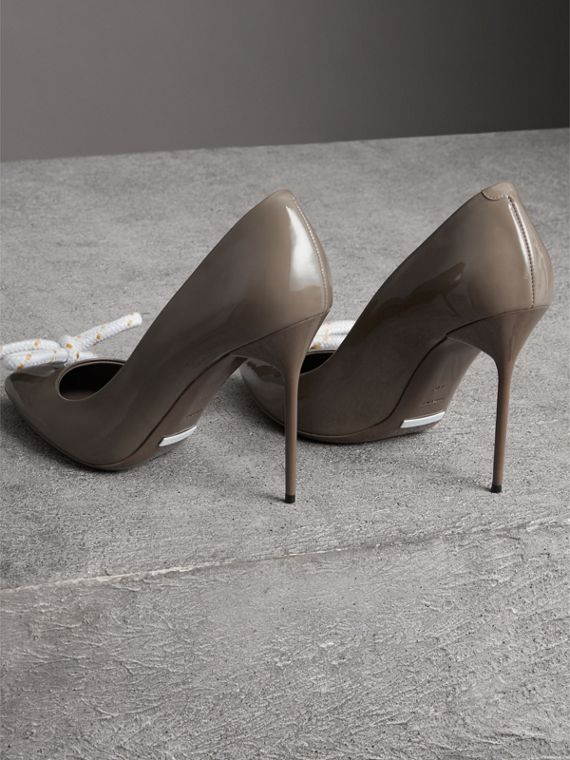 The Patent Leather Rope Stiletto in Taupe Grey - Women | Burberry - cell image 3