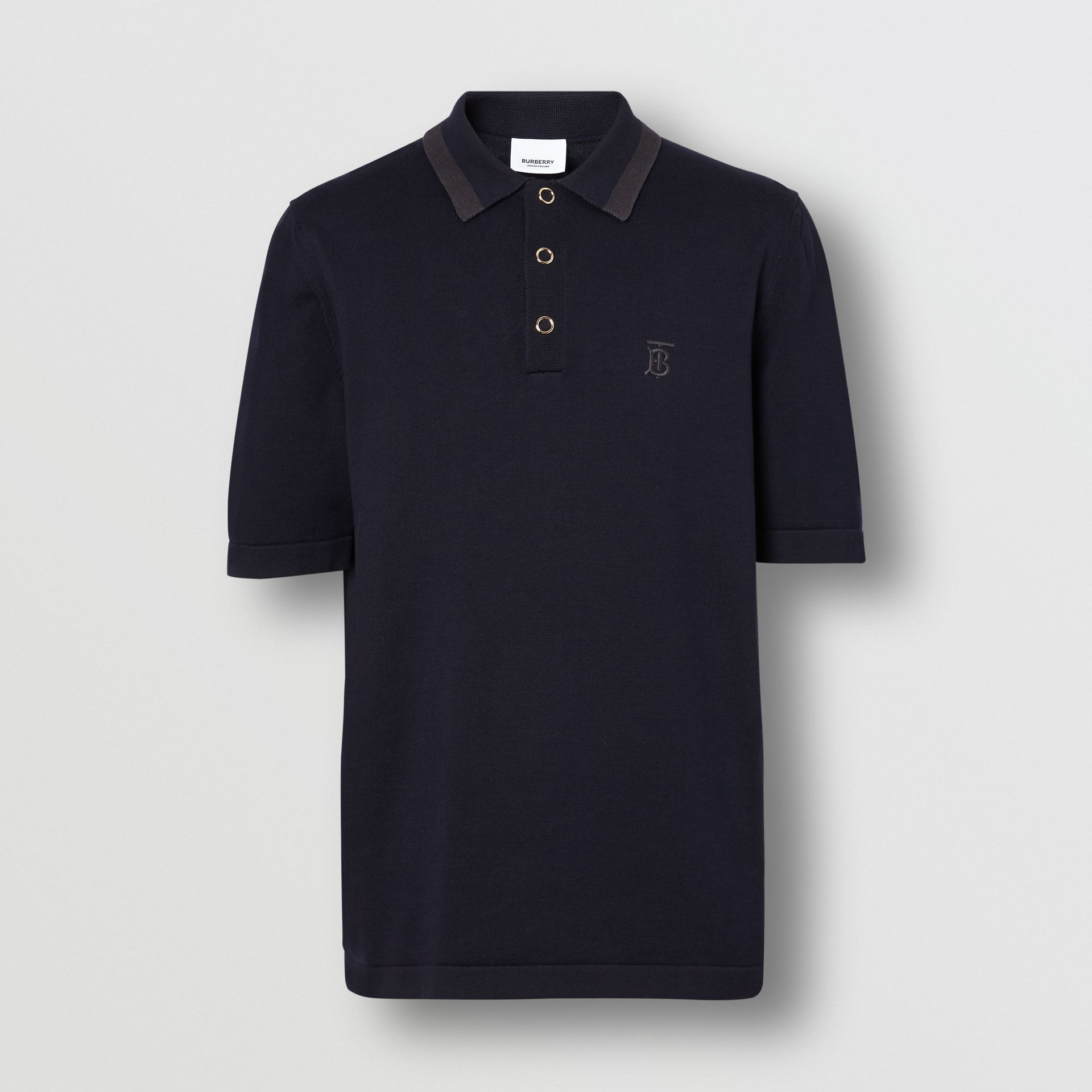 Monogram Motif Cotton Polo Shirt in Navy - Men | Burberry United Kingdom - gallery image 3