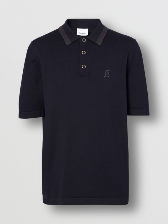 Monogram Motif Cotton Polo Shirt in Navy