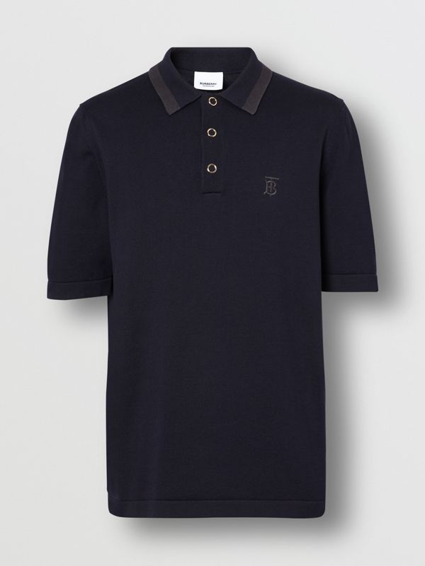 Monogram Motif Cotton Polo Shirt in Navy - Men | Burberry United Kingdom - cell image 3
