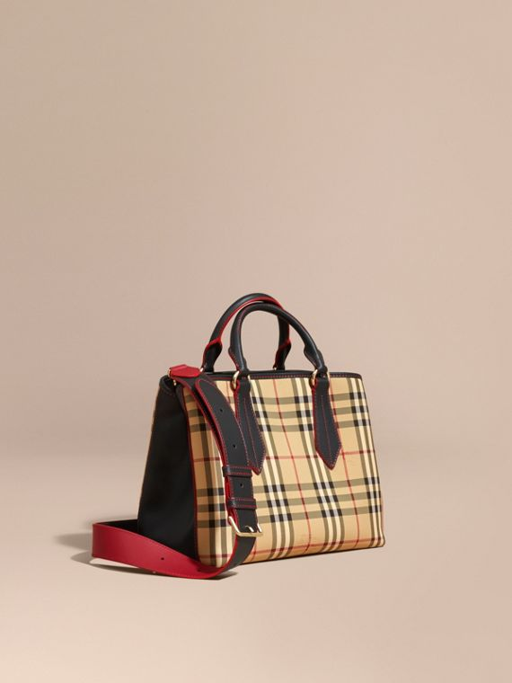 Leather Trim Horseferry Check Tote Honey/black