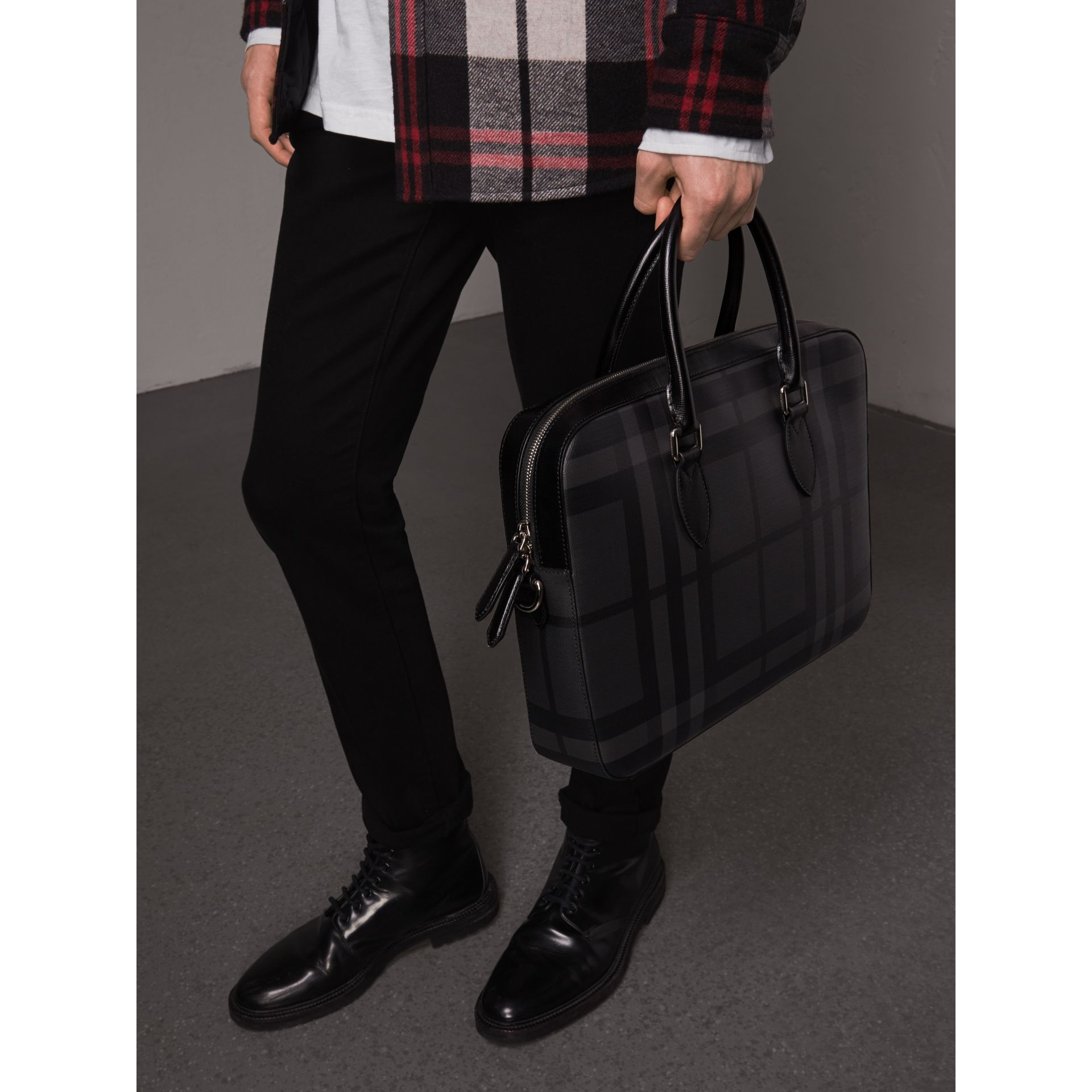 Medium Leather Trim London Check Briefcase in Charcoal/black - Men | Burberry Singapore - gallery image 4