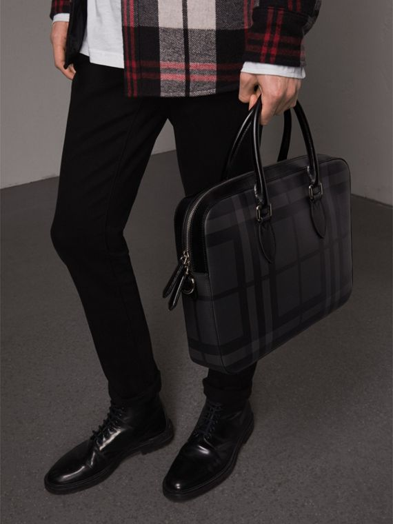 Medium Leather Trim London Check Briefcase in Charcoal/black - Men | Burberry Singapore - cell image 3