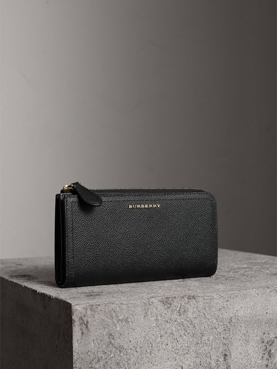 Grainy Leather Ziparound Wallet in Black