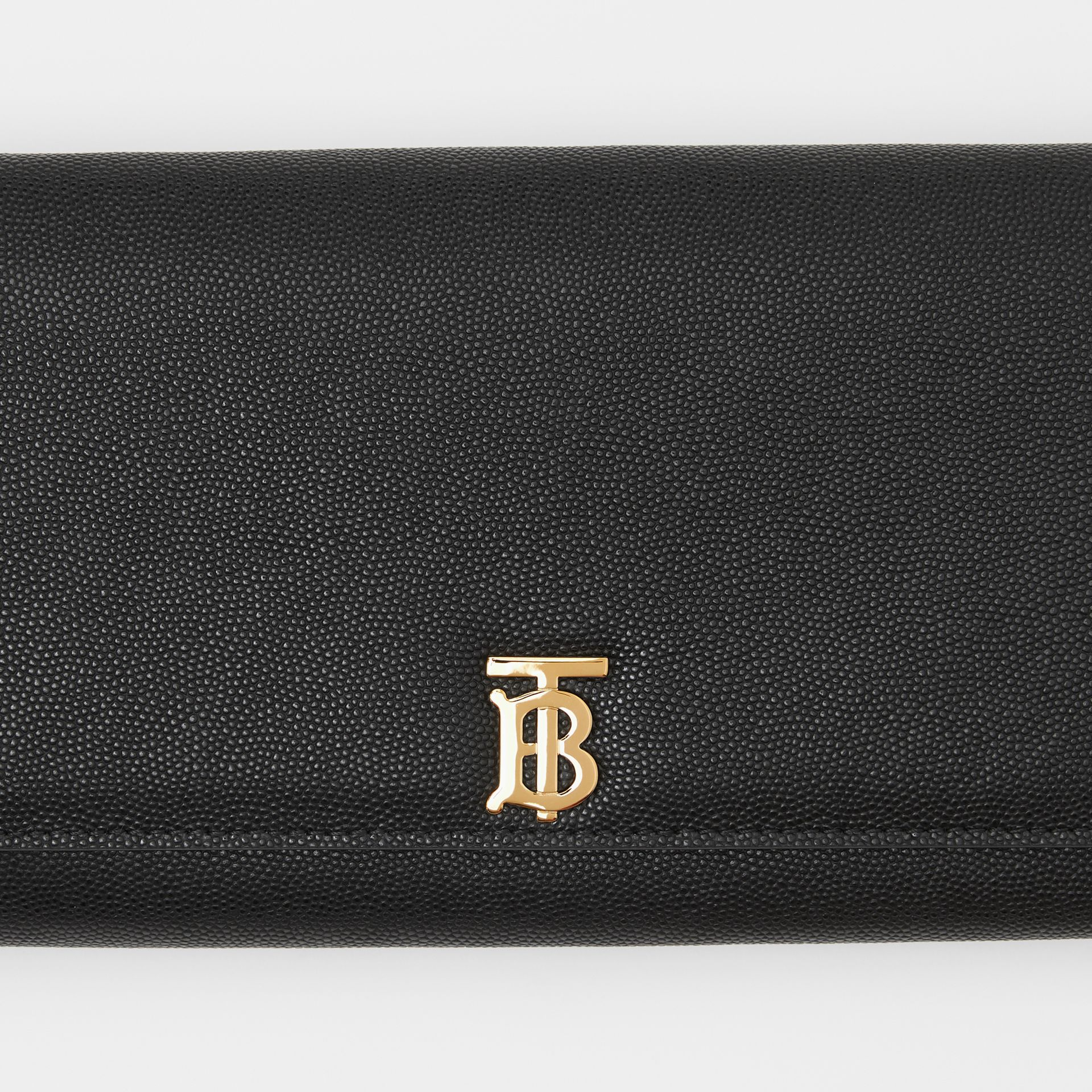 Monogram Motif Leather Wallet with Detachable Strap in Black - Women | Burberry United Kingdom - gallery image 1