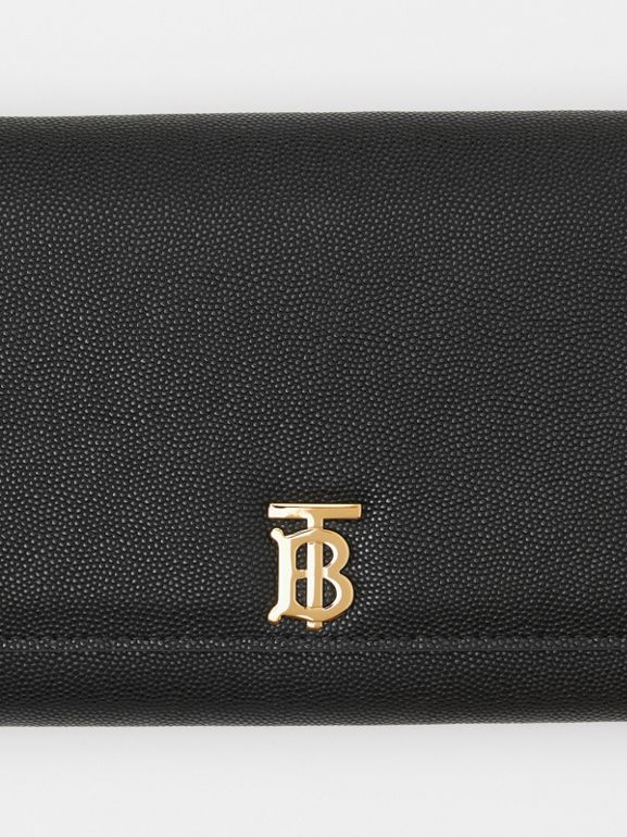 Monogram Motif Leather Wallet with Detachable Strap in Black - Women | Burberry United Kingdom - cell image 1