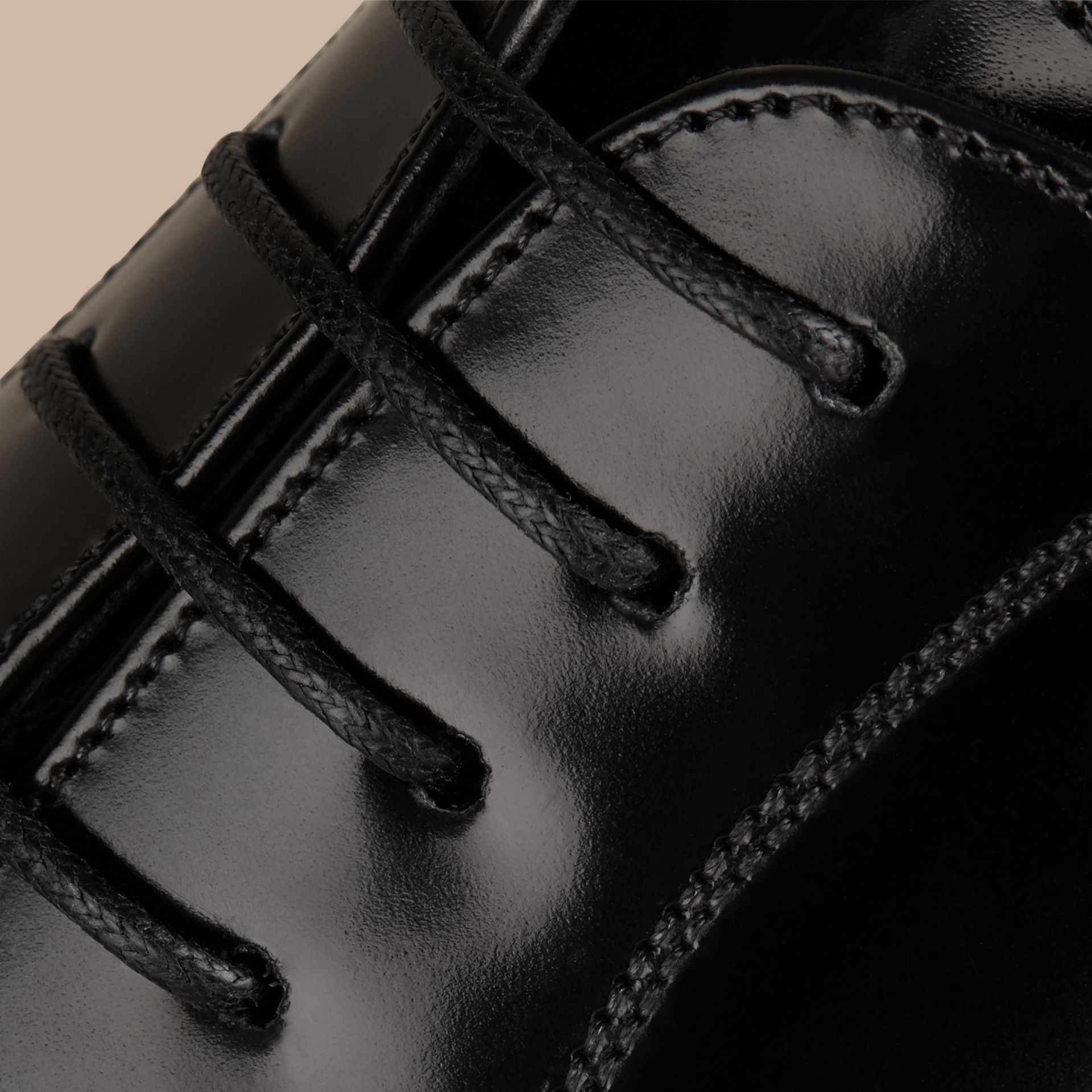 Black Classic Leather Oxford Shoes - gallery image 2