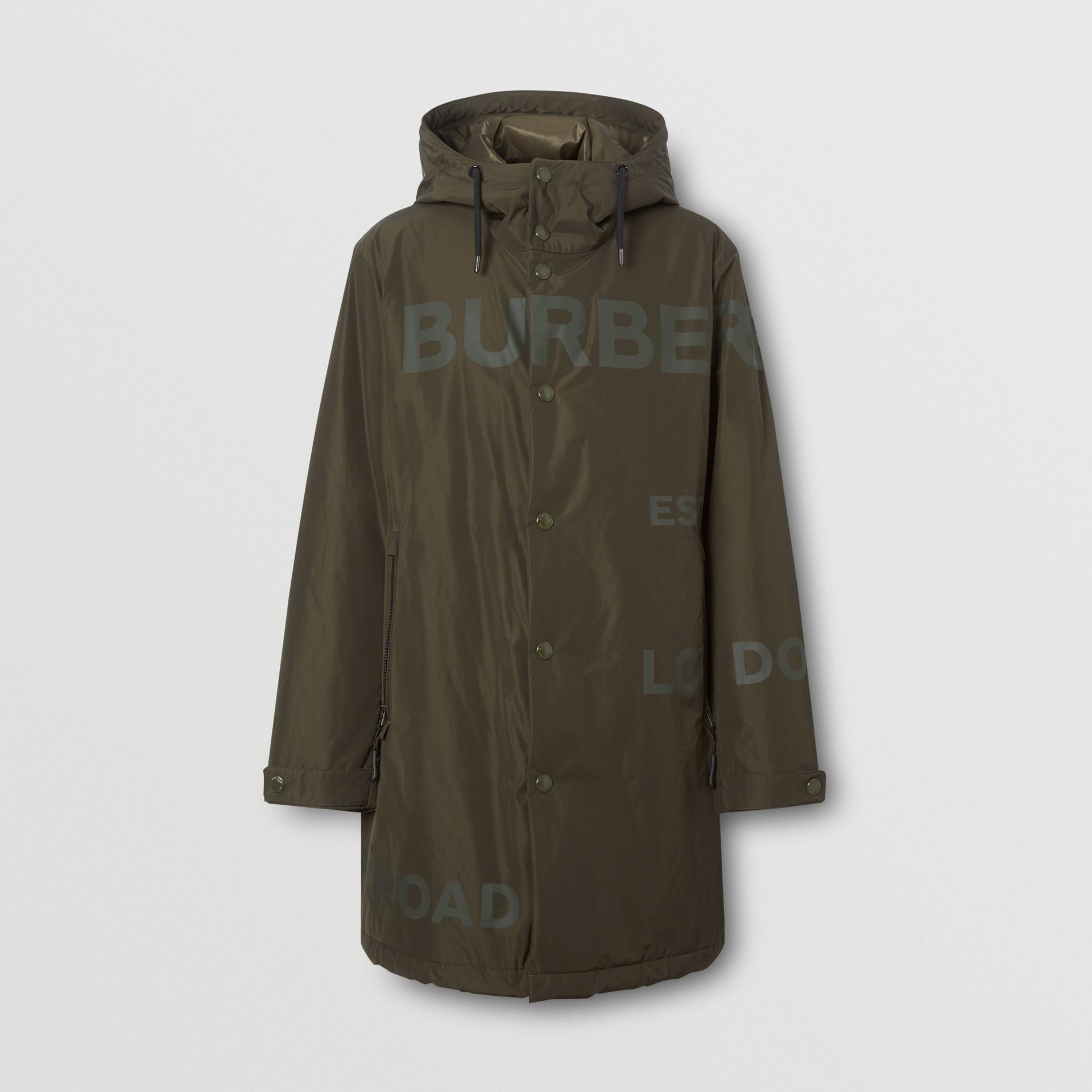 Horseferry Print Shape-memory Taffeta Hooded Coat in Khaki - Men | Burberry - gallery image 3
