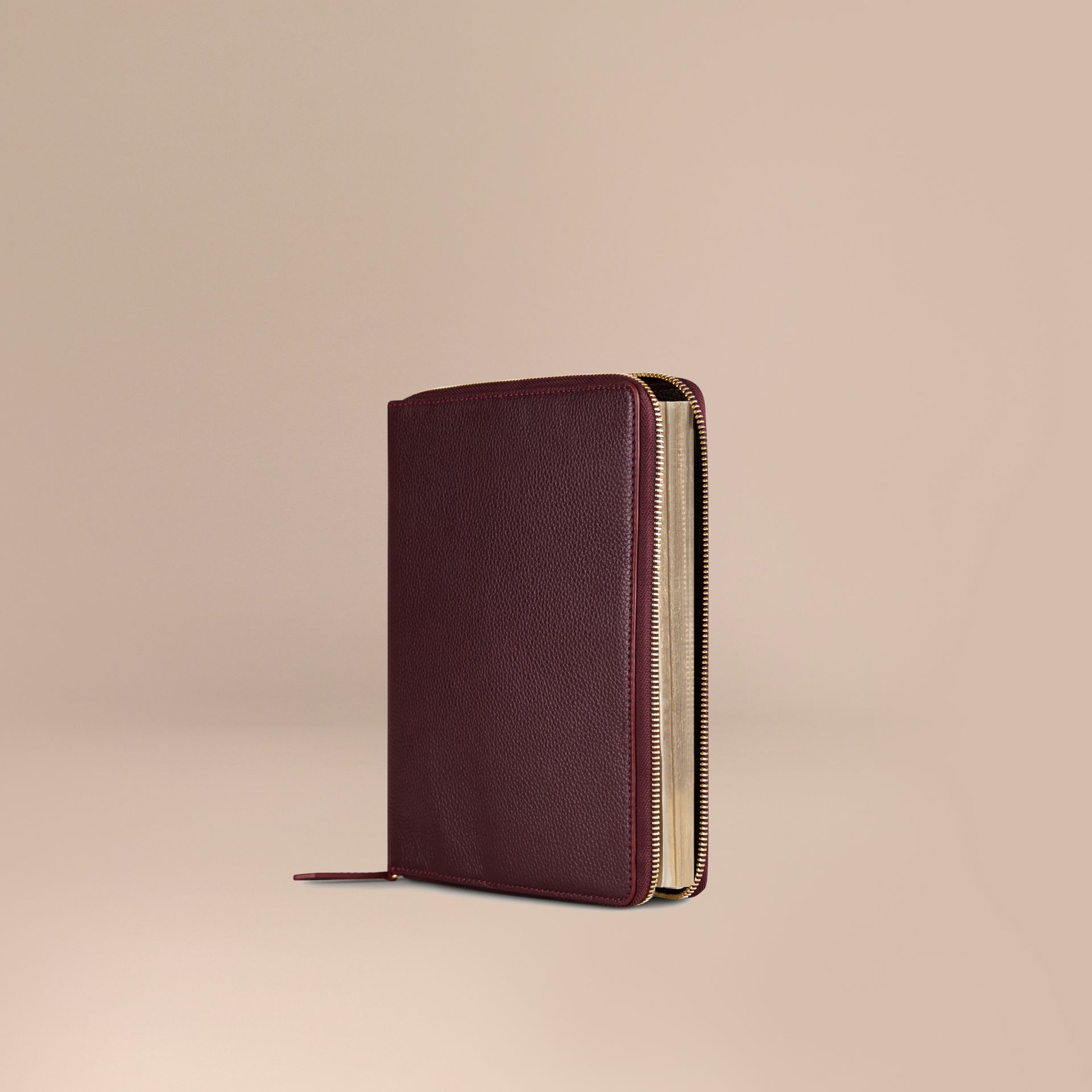 Ziparound Grainy Leather 18 Month 2016/17 A5 Diary in Dark Amethyst | Burberry - gallery image 1