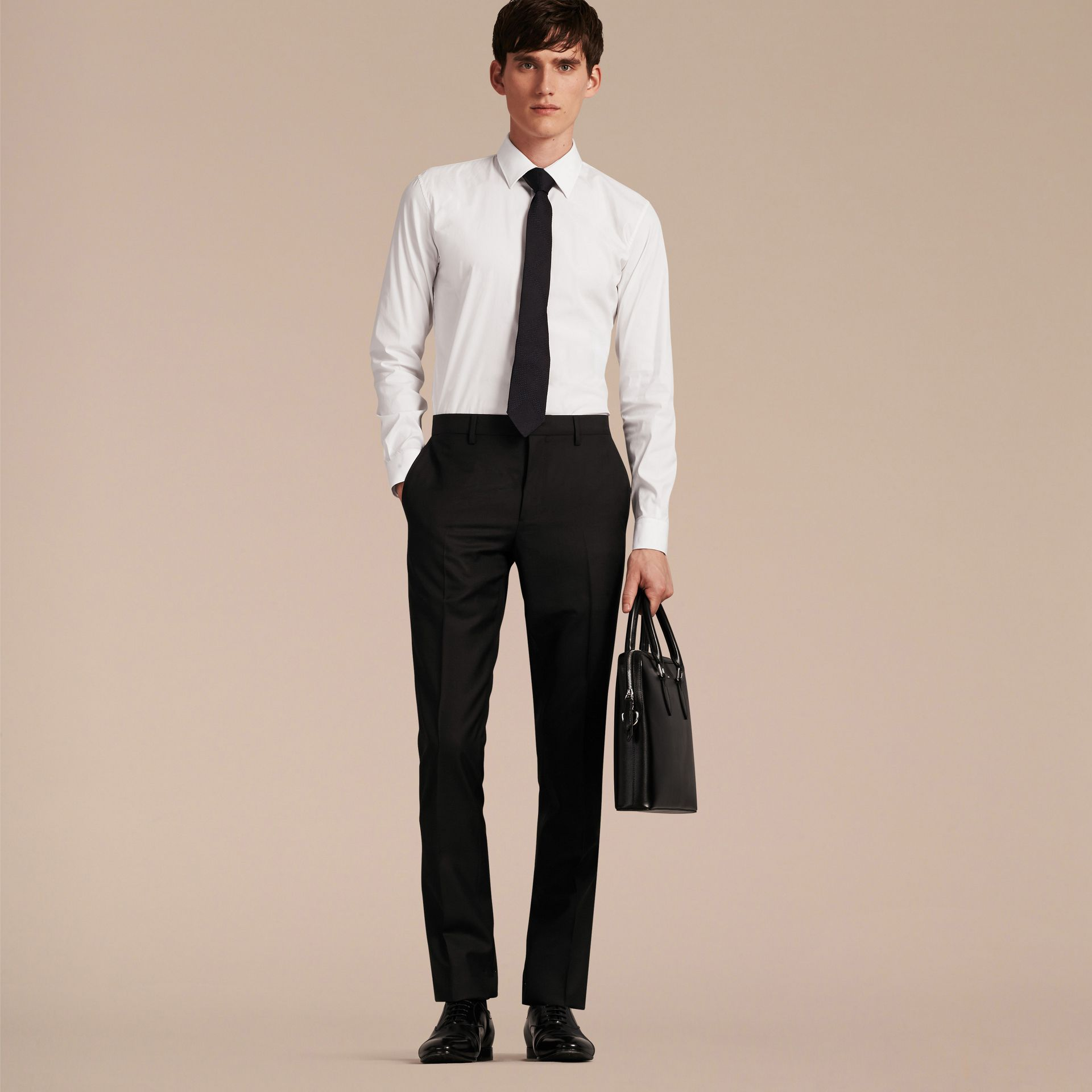 Slim Fit Wool Trousers in Black - Men | Burberry - gallery image 6