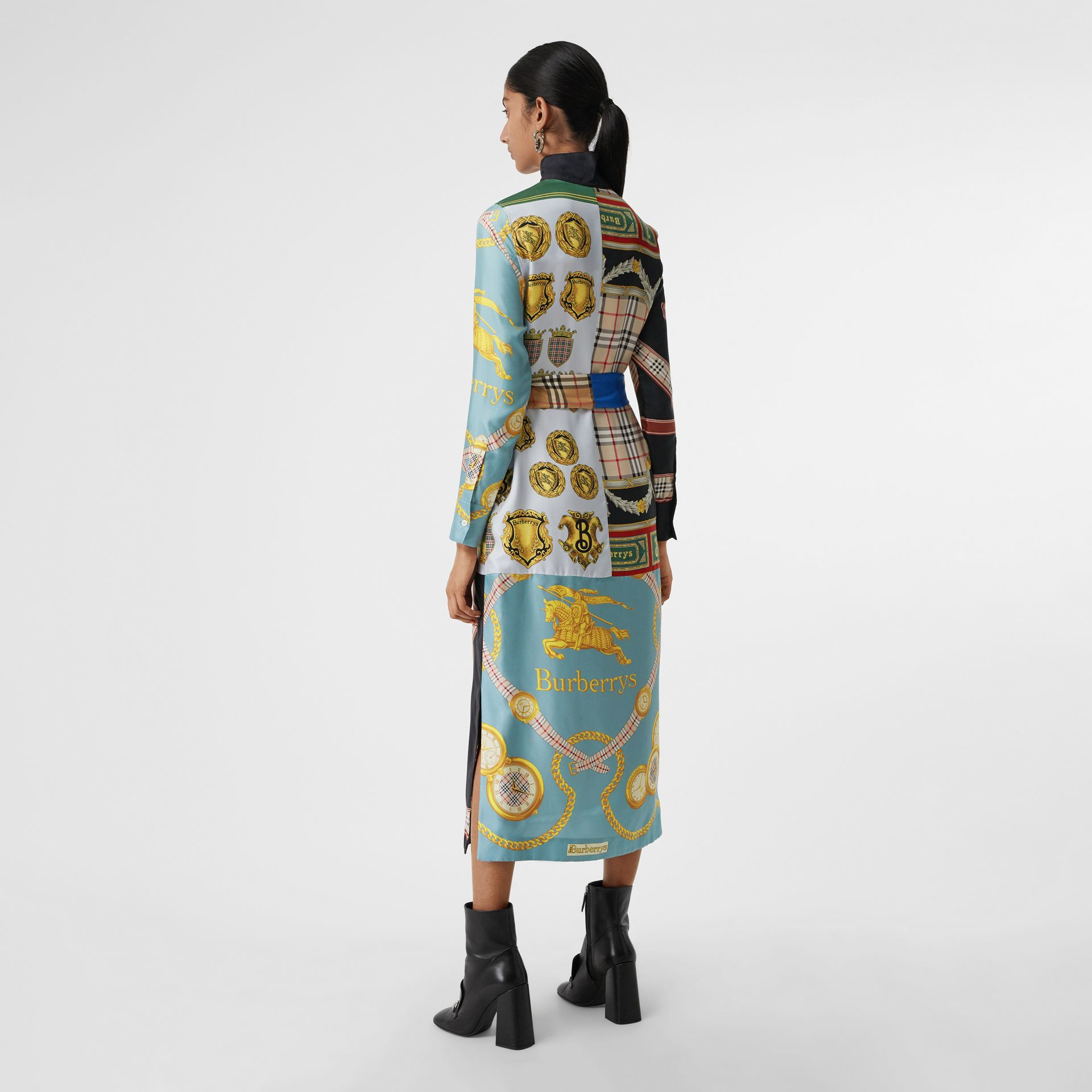 Archive Scarf Print Silk Dress in Antique Yellow - Women | Burberry - gallery image 2