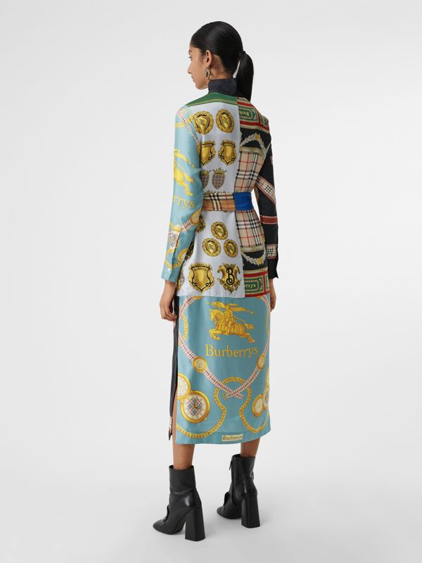 Archive Scarf Print Silk Dress in Antique Yellow - Women | Burberry - cell image 2