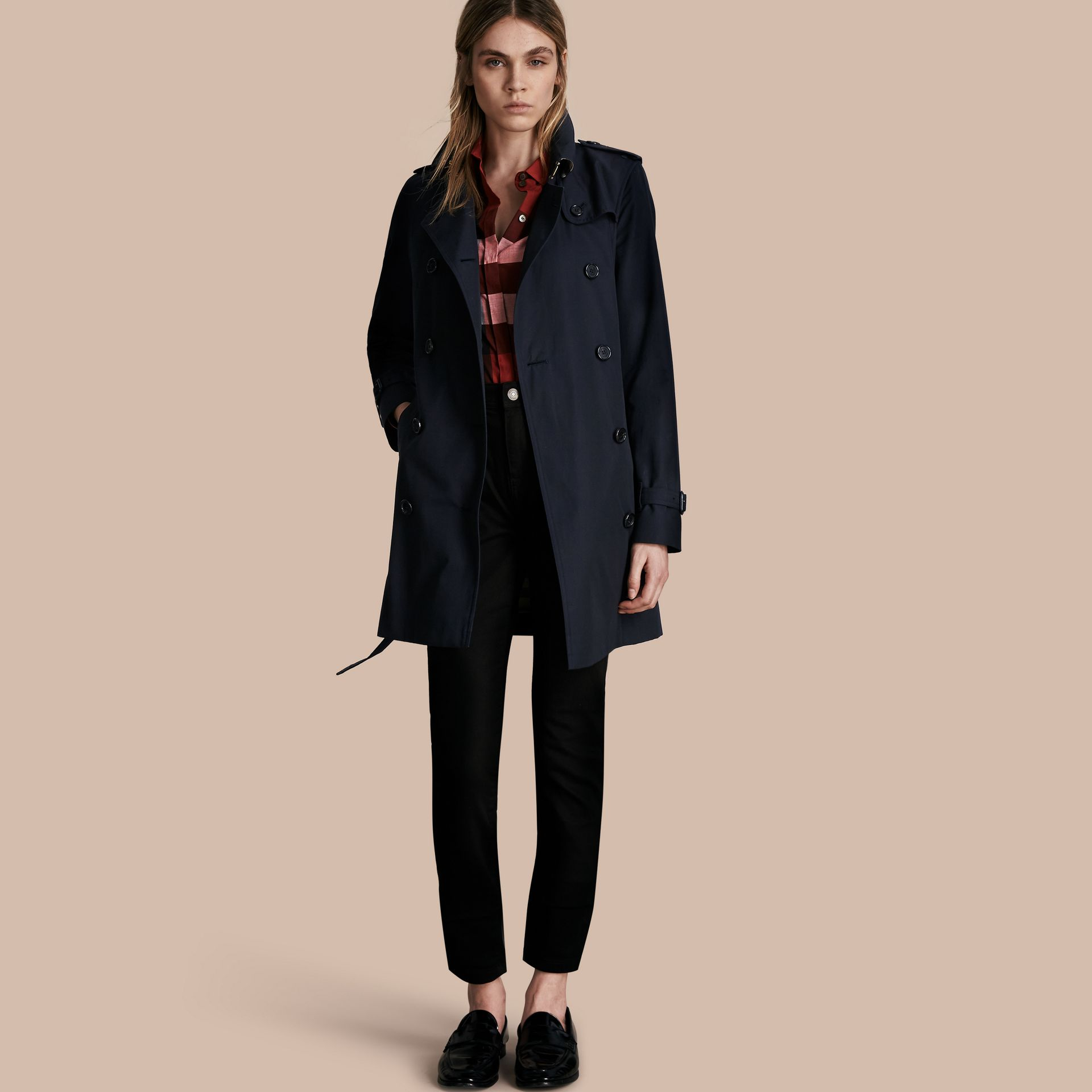 Navy The Kensington – Mid-Length Heritage Trench Coat Navy - gallery image 1