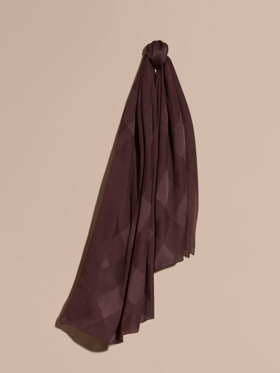 Check Jacquard Silk Scarf Elderberry