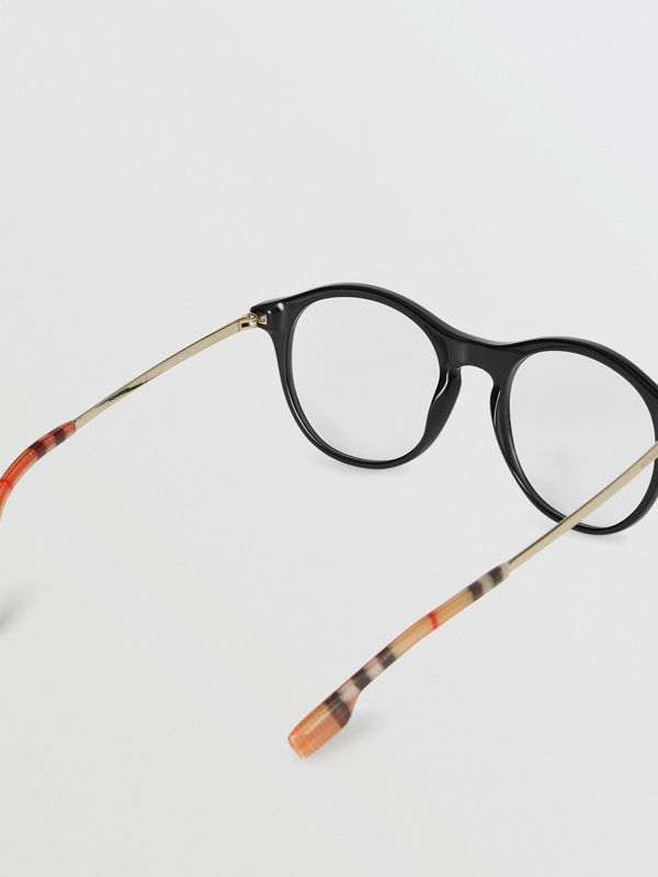 Vintage Check Detail Round Optical Frames in Black - Women | Burberry - cell image 3
