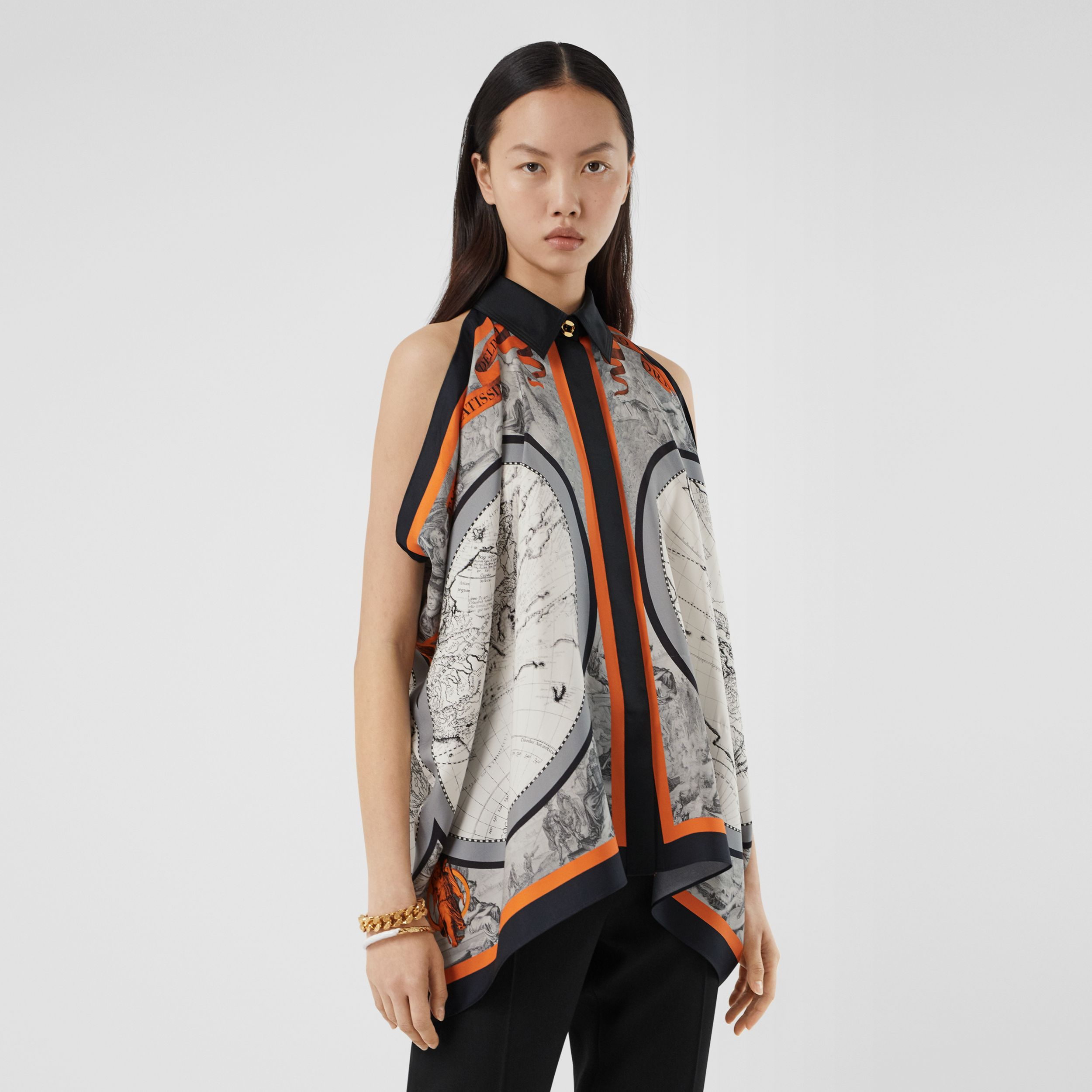 Sleeveless Map Print Silk Shirt in Taupe Grey - Women | Burberry - 1