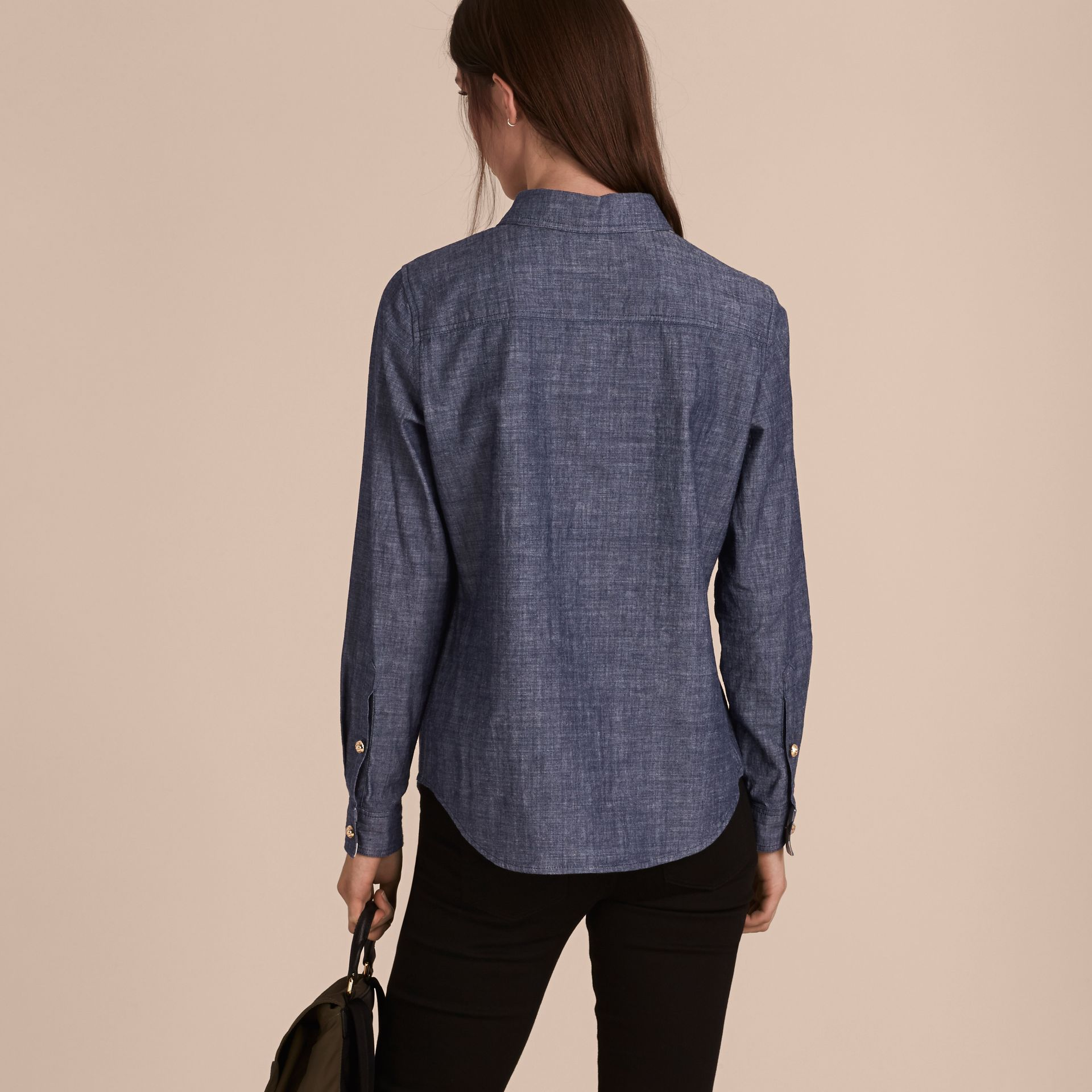 Check Detail Denim Shirt - Women | Burberry - gallery image 3