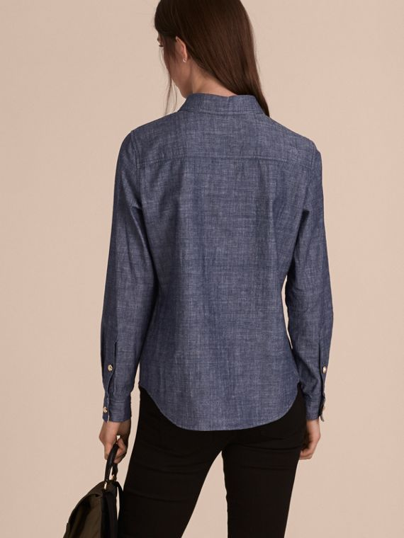 Light indigo Check Detail Denim Shirt - cell image 2