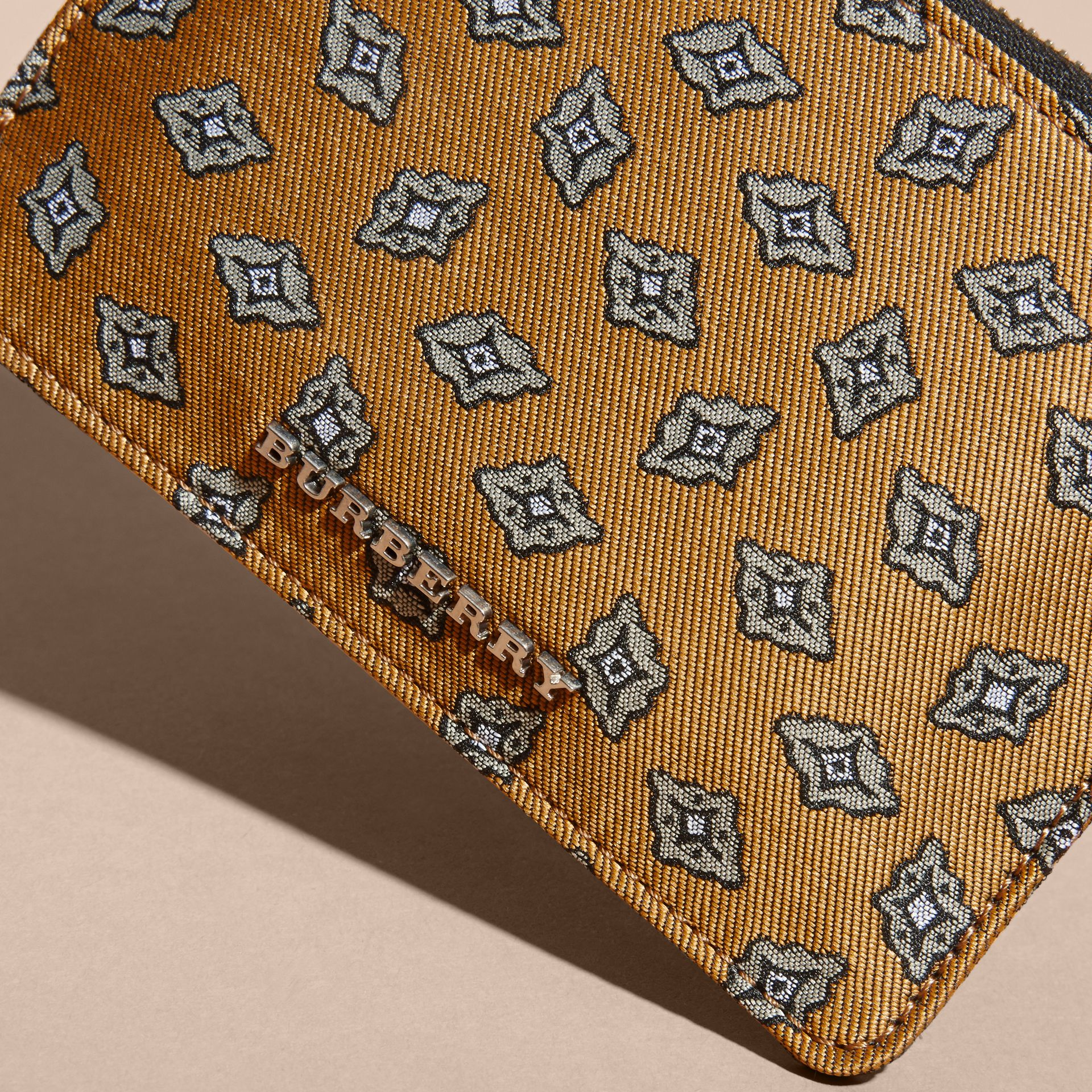 Citrus yellow Geometric Tile Jacquard Zip-top Wallet Citrus Yellow - gallery image 2