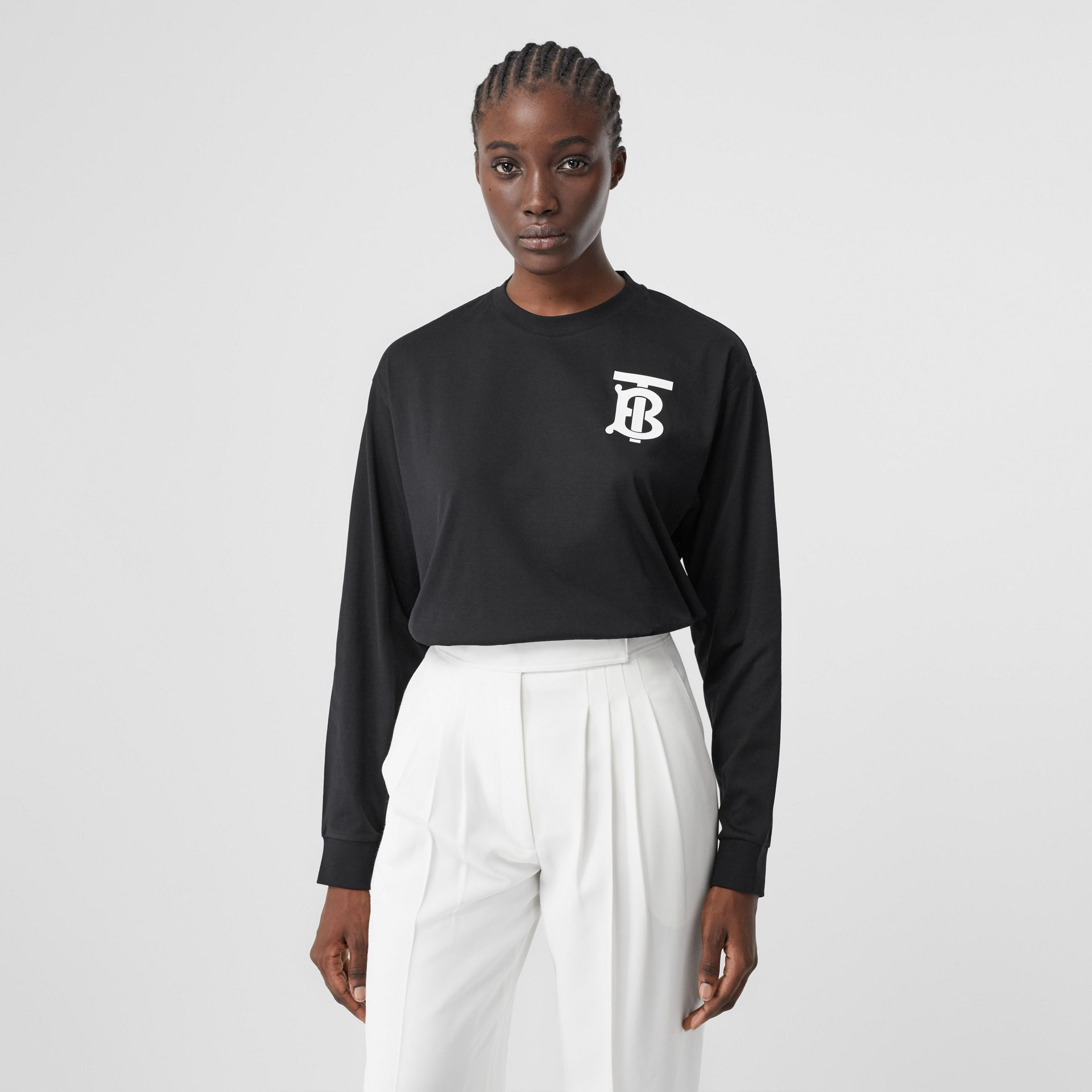 Long-sleeve Monogram Motif Cotton Top in Black - Women | Burberry - gallery image 4