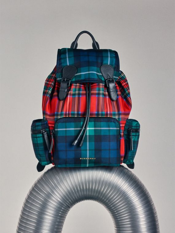 The Large Rucksack in Patchwork Tartan in Military Red