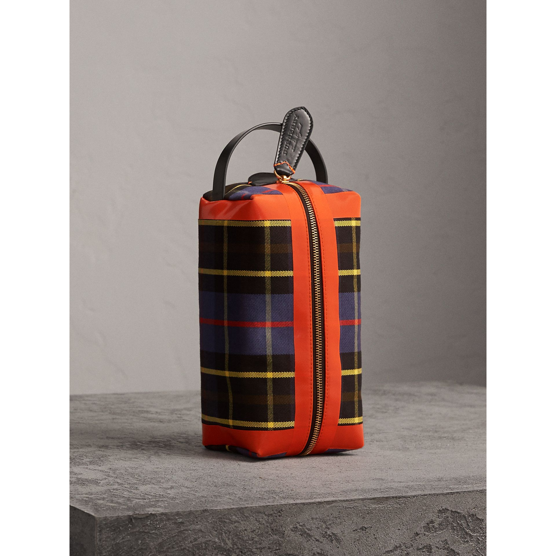Tartan Cotton Pouch in Cobalt | Burberry - gallery image 1