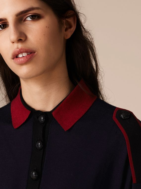 Navy/red Epaulette Detail Wool Polo Shirt - cell image 2