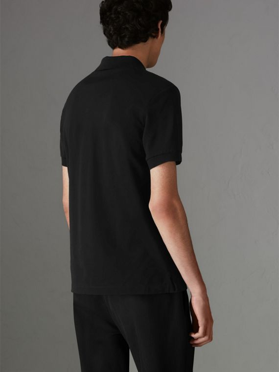 Painted Button Cotton Piqué Polo Shirt in Black - Men | Burberry United Kingdom - cell image 2