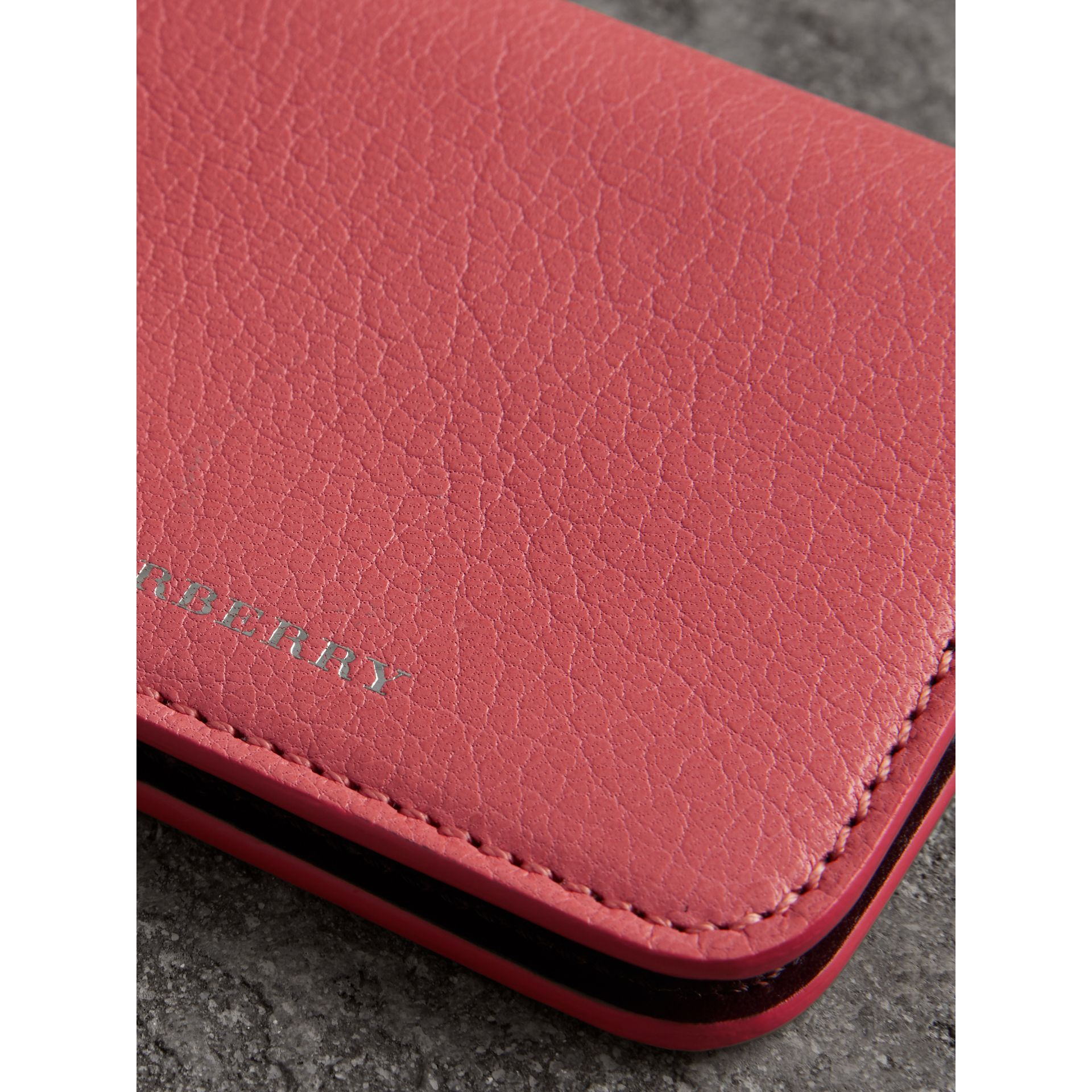 Link Detail Leather ID Card Case Charm in Bright Coral Pink - Women | Burberry - gallery image 1