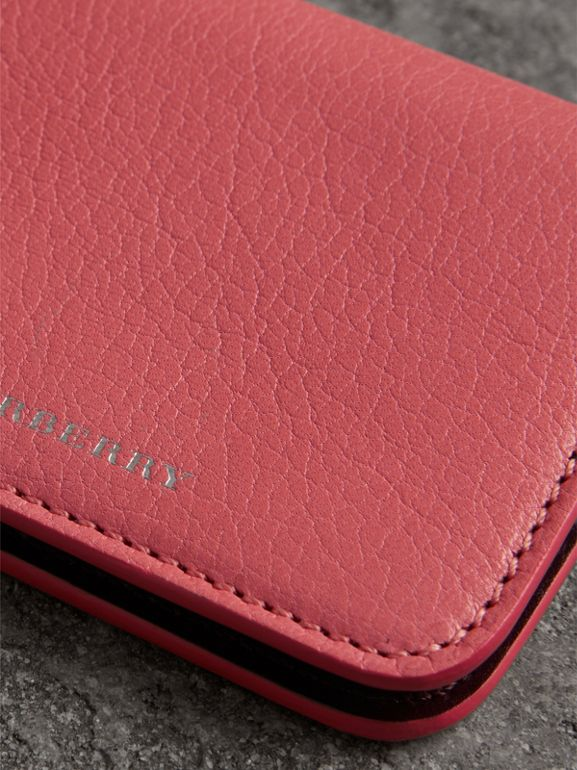 Link Detail Leather ID Card Case Charm in Bright Coral Pink - Women | Burberry - cell image 1