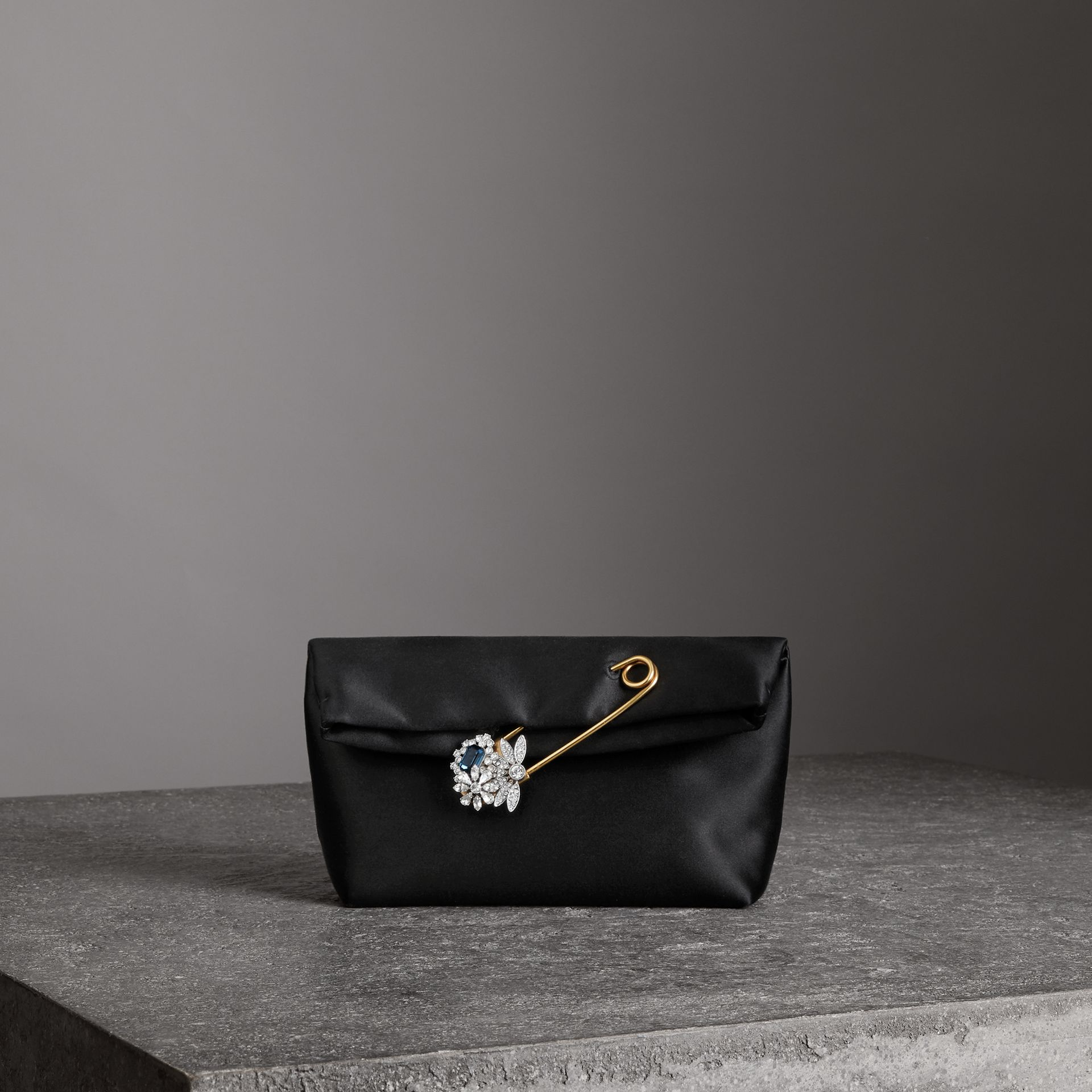 The Small Pin Clutch in Satin in Black - Women | Burberry Australia - gallery image 0
