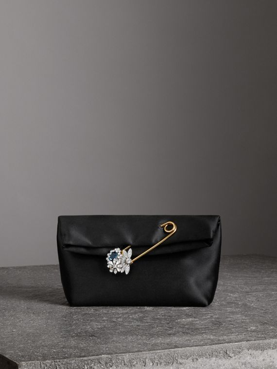 Petit clutch The Pin en satin (Noir)