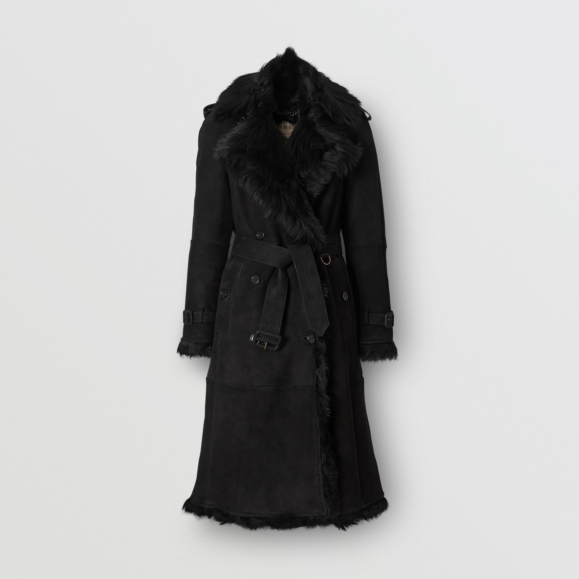Shearling Trench Coat in Black - Women | Burberry United Kingdom - gallery image 3