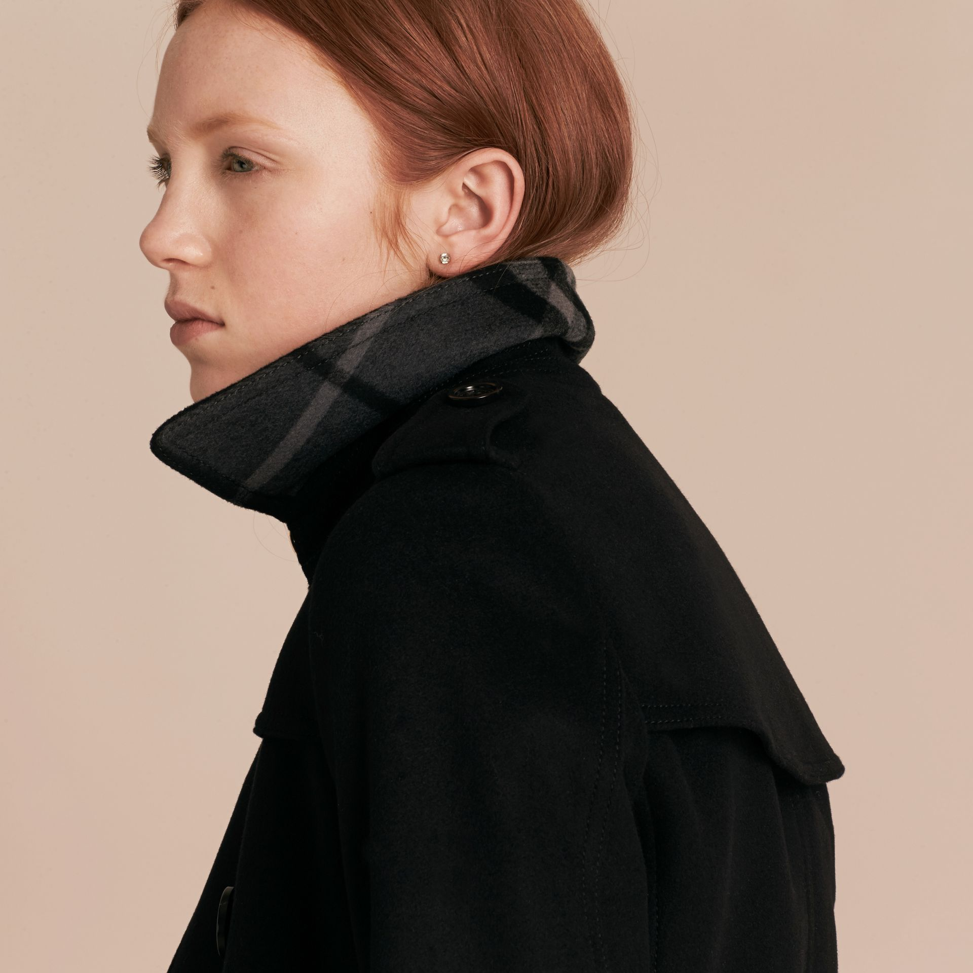 Black Wool Cashmere Trench Coat Black - gallery image 5