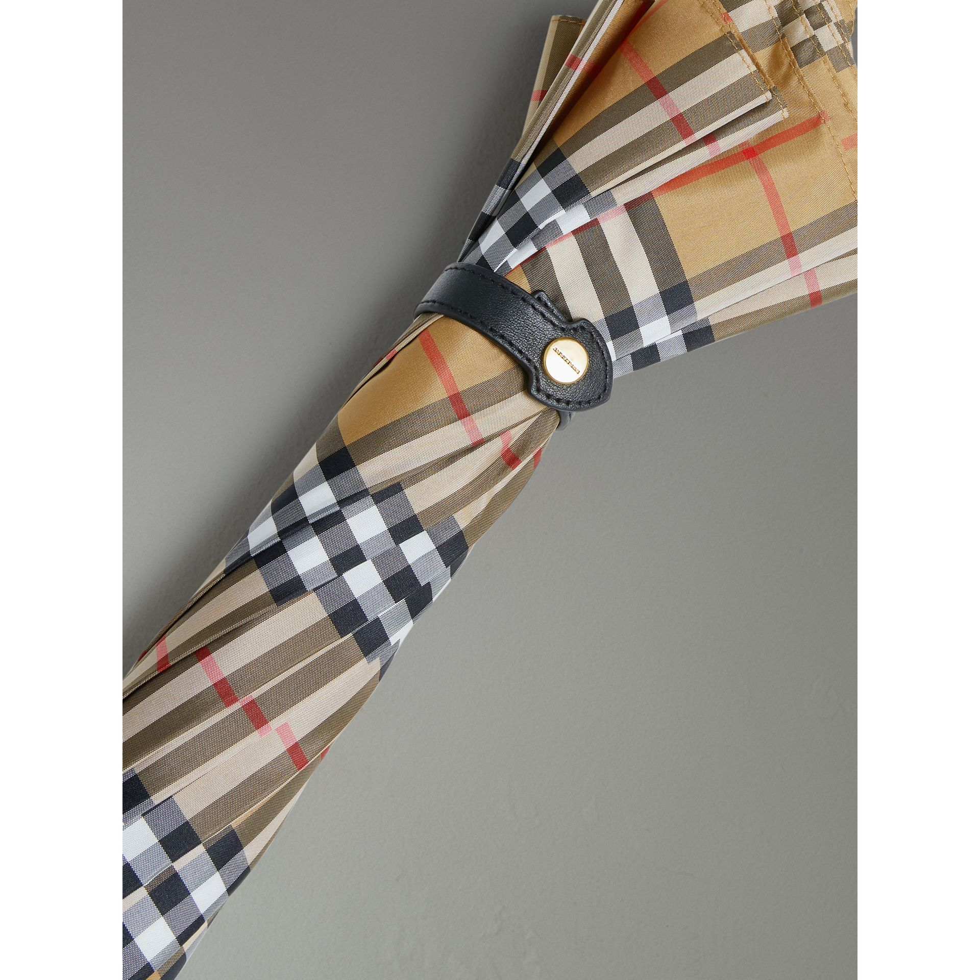 Vintage Check Walking Umbrella in Antique Yellow/black | Burberry United Kingdom - gallery image 1