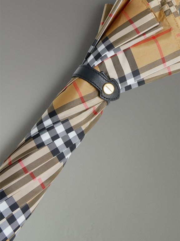 Vintage Check Walking Umbrella in Antique Yellow/black | Burberry United States - cell image 1