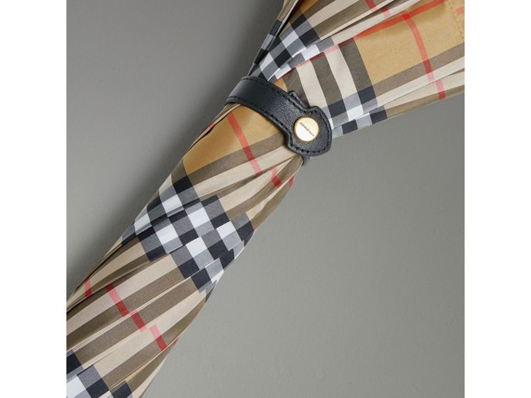 Vintage Check Walking Umbrella in Antique Yellow/black | Burberry United Kingdom - cell image 1