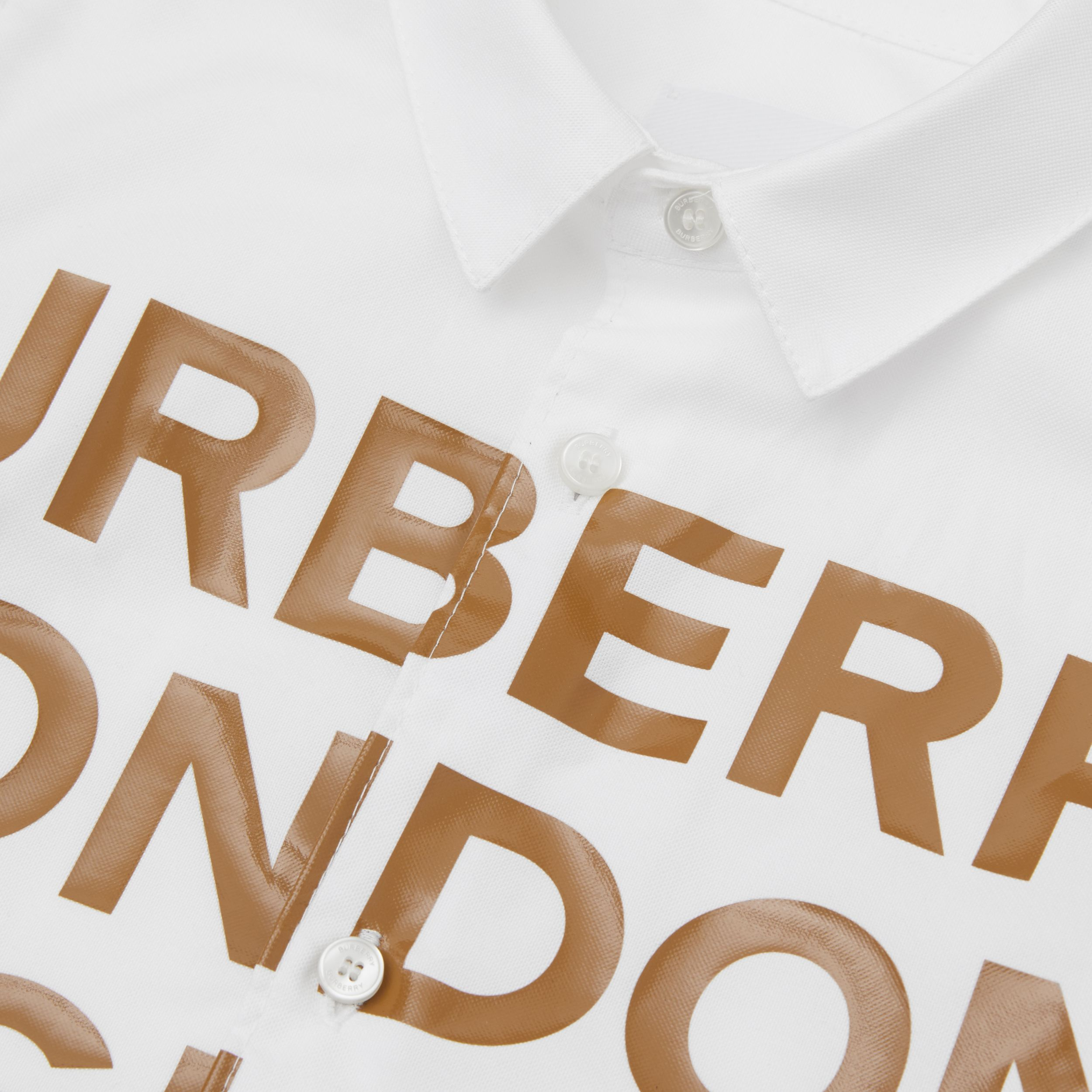 Short-sleeve Logo Print Cotton Oxford Shirt in White - Children | Burberry - 2