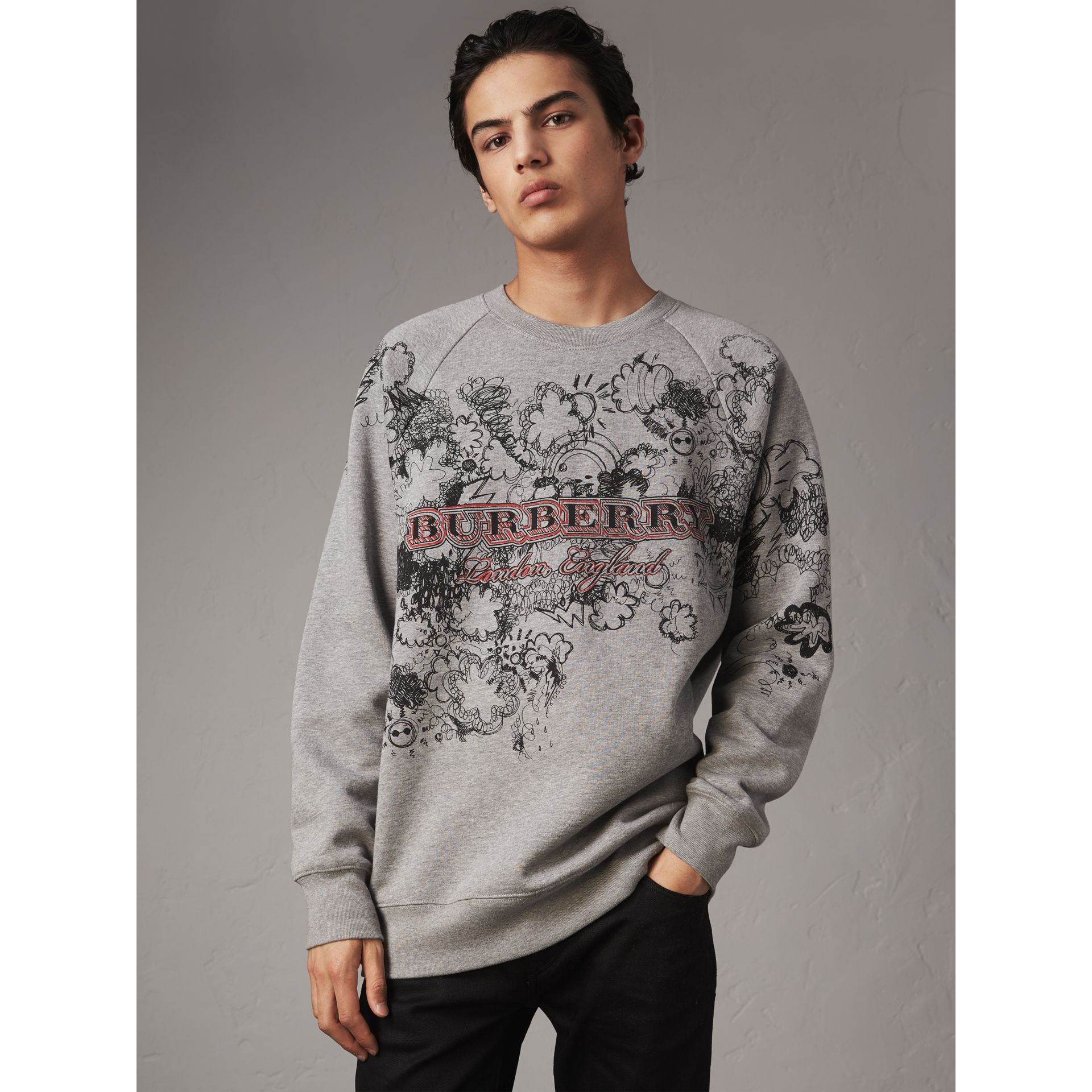 Doodle Print Jersey Sweatshirt in Pale Grey Melange - Men | Burberry Singapore - gallery image 0