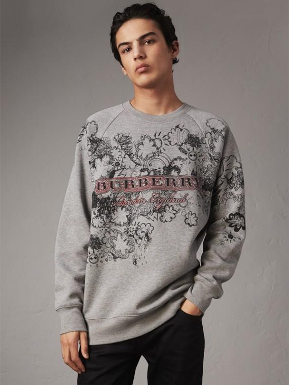 Doodle Print Jersey Sweatshirt in Pale Grey Melange
