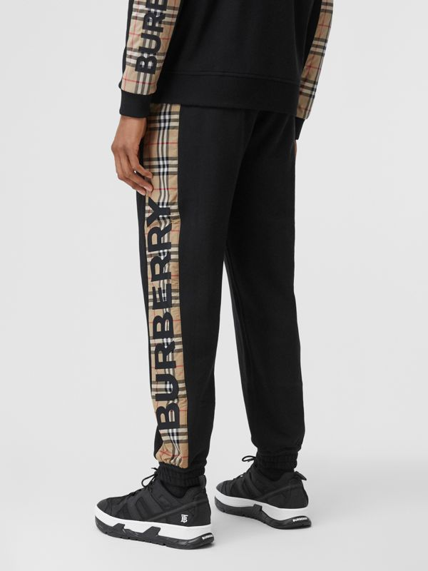 Logo Print Check Panel Cotton Trackpants in Black - Men | Burberry - cell image 2