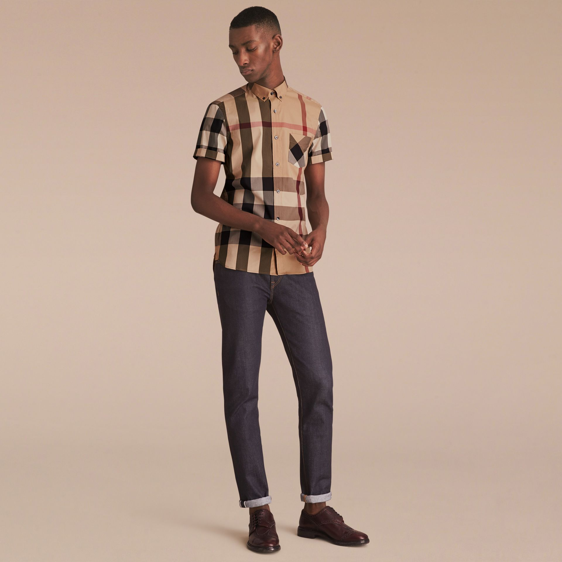 Short-sleeved Check Stretch Cotton Blend Shirt Camel - gallery image 6
