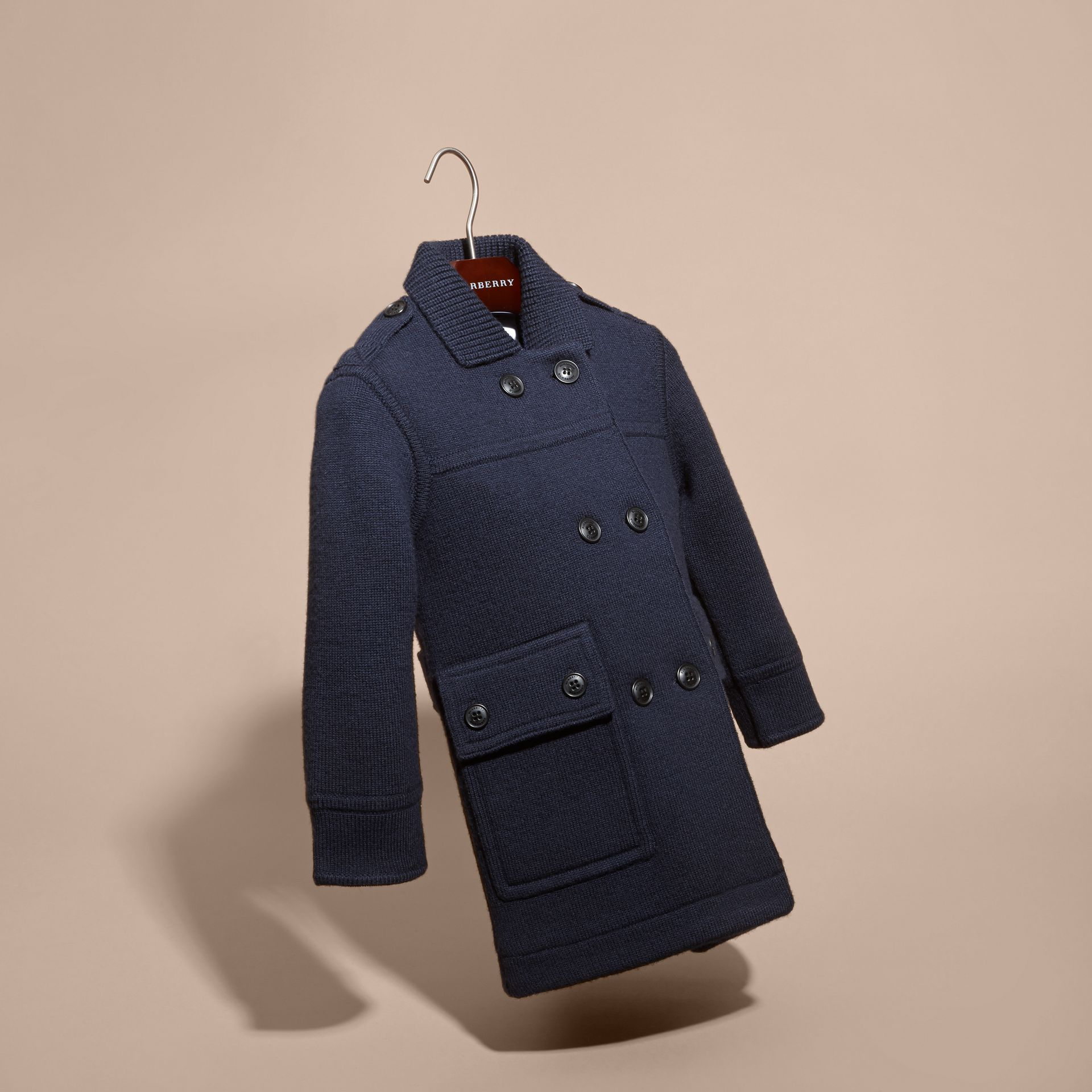 Navy Knitted Merino Wool Pea Coat - gallery image 3