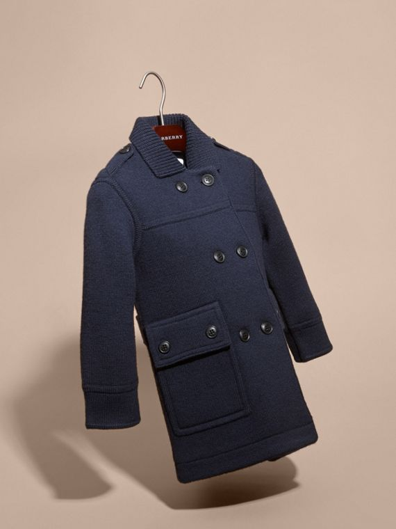 Navy Knitted Merino Wool Pea Coat - cell image 2
