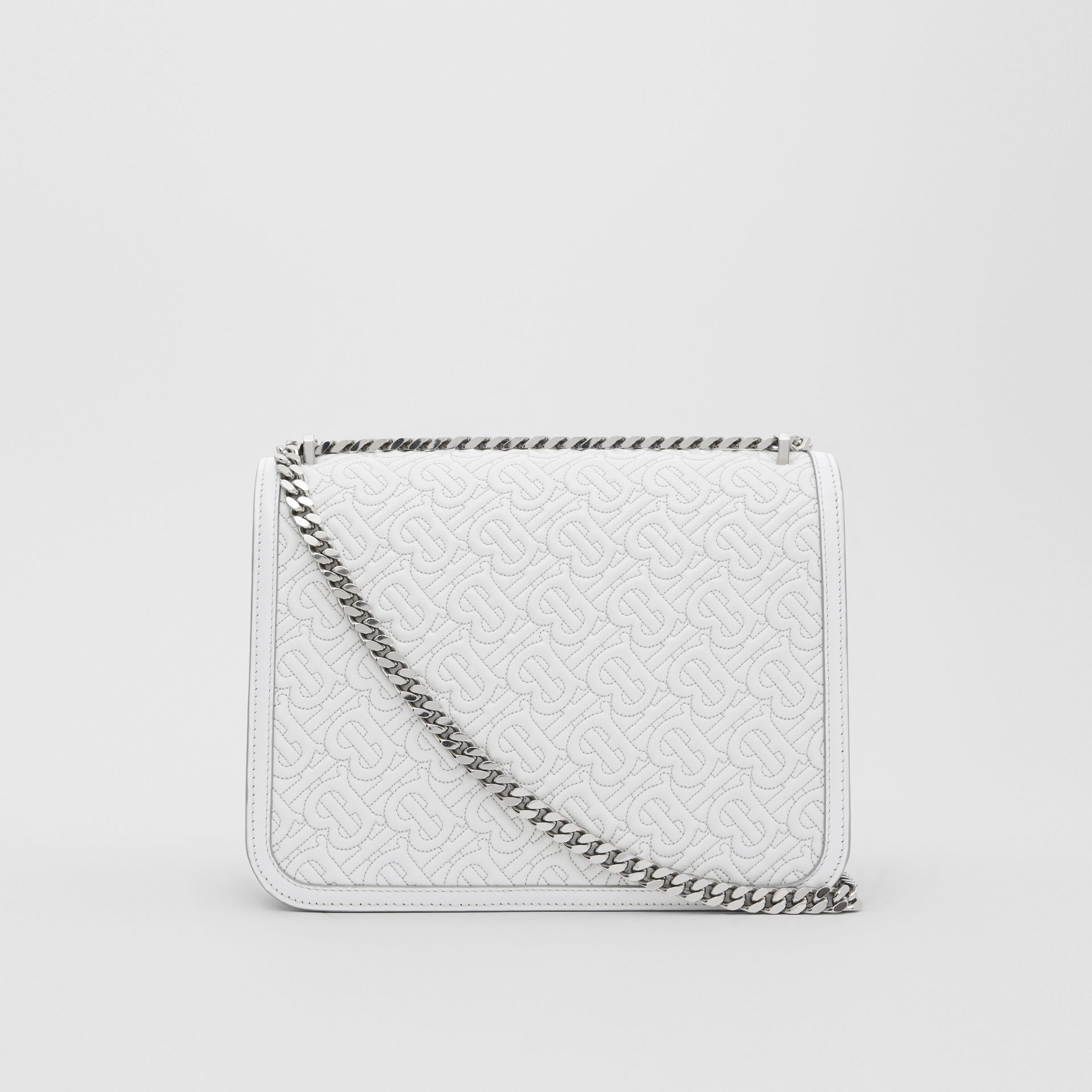 Medium Quilted Monogram Lambskin TB Bag in Light Pebble Grey - Women | Burberry - gallery image 7