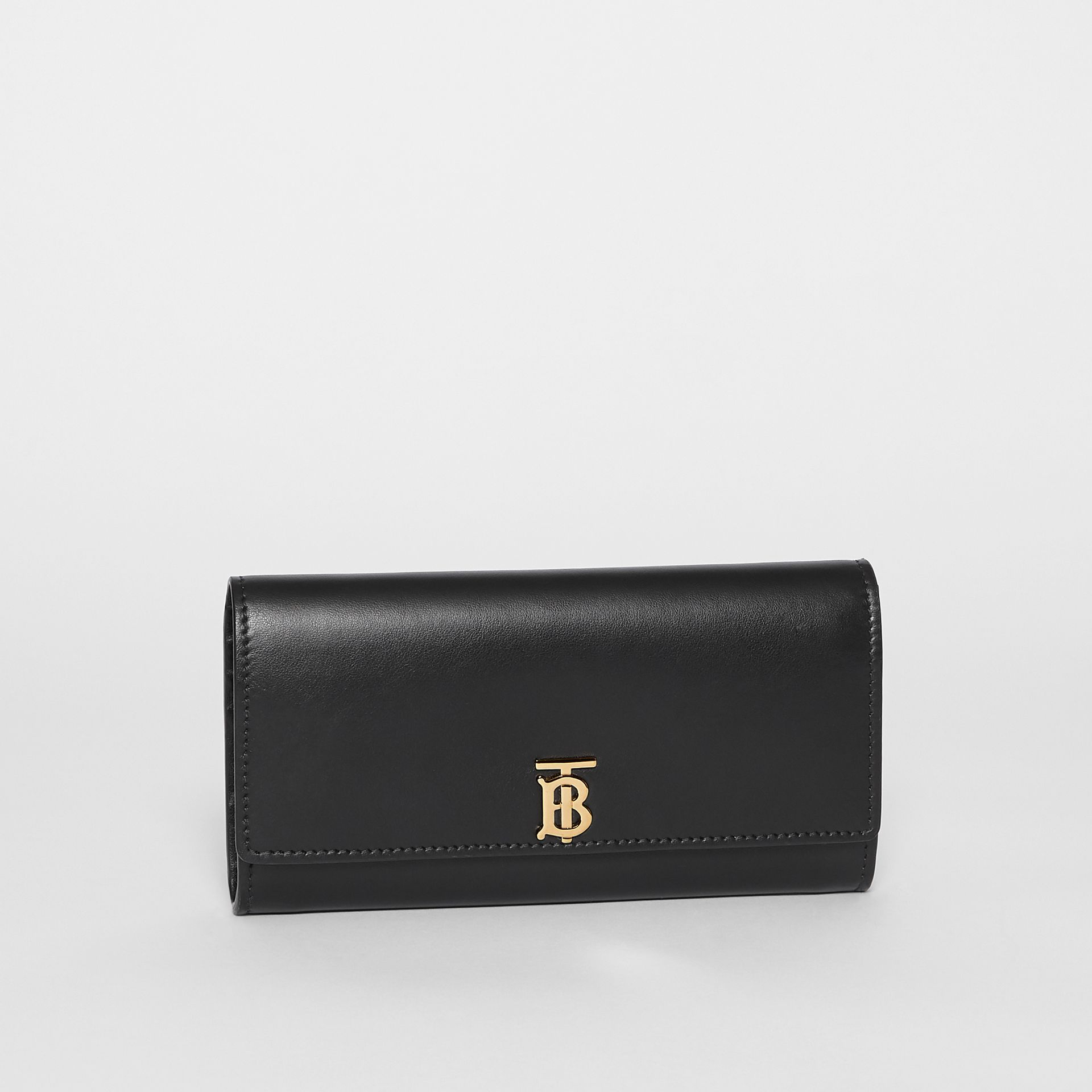 Monogram Motif Leather Continental Wallet in Black - Women | Burberry - gallery image 4